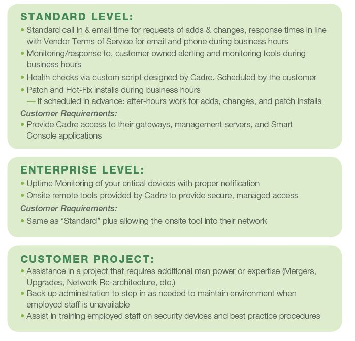 Managed Services Levels.
